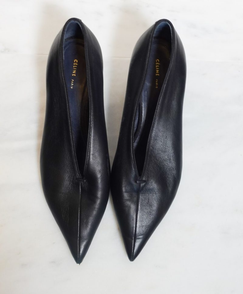 Celine black leather v neck pumps