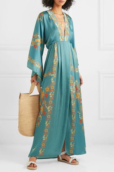 Celia Dragouni printed satin maxi dress in light blue