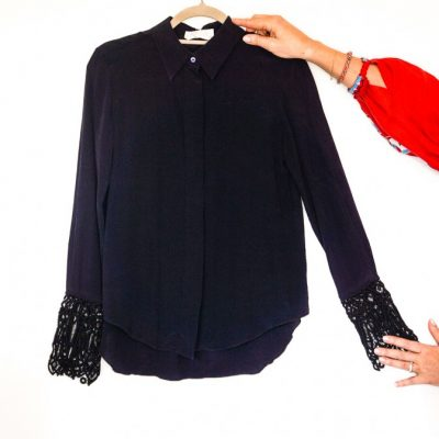 Chloe navy silk blouse