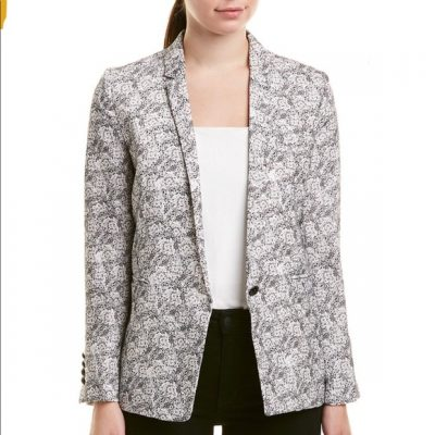 The Kooples black & white flower blazer