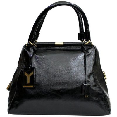 Gorgeous Yves Saint Laurent Black Patent Leather Shoulder Bag