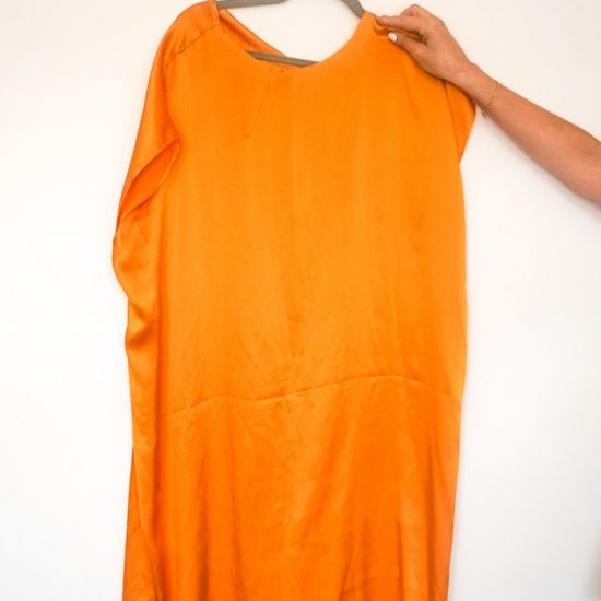 New orange silk sleeveless dresss from Alessandra Jane