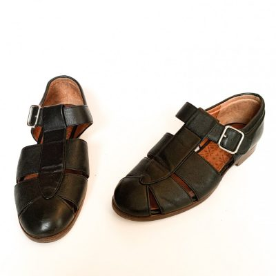 Chie Mihara black leather buckle up flat sandals