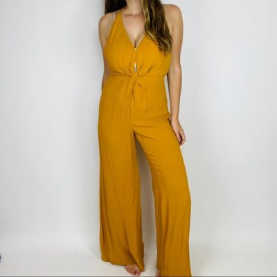 Reformation wide leg jumpsuit in mustard