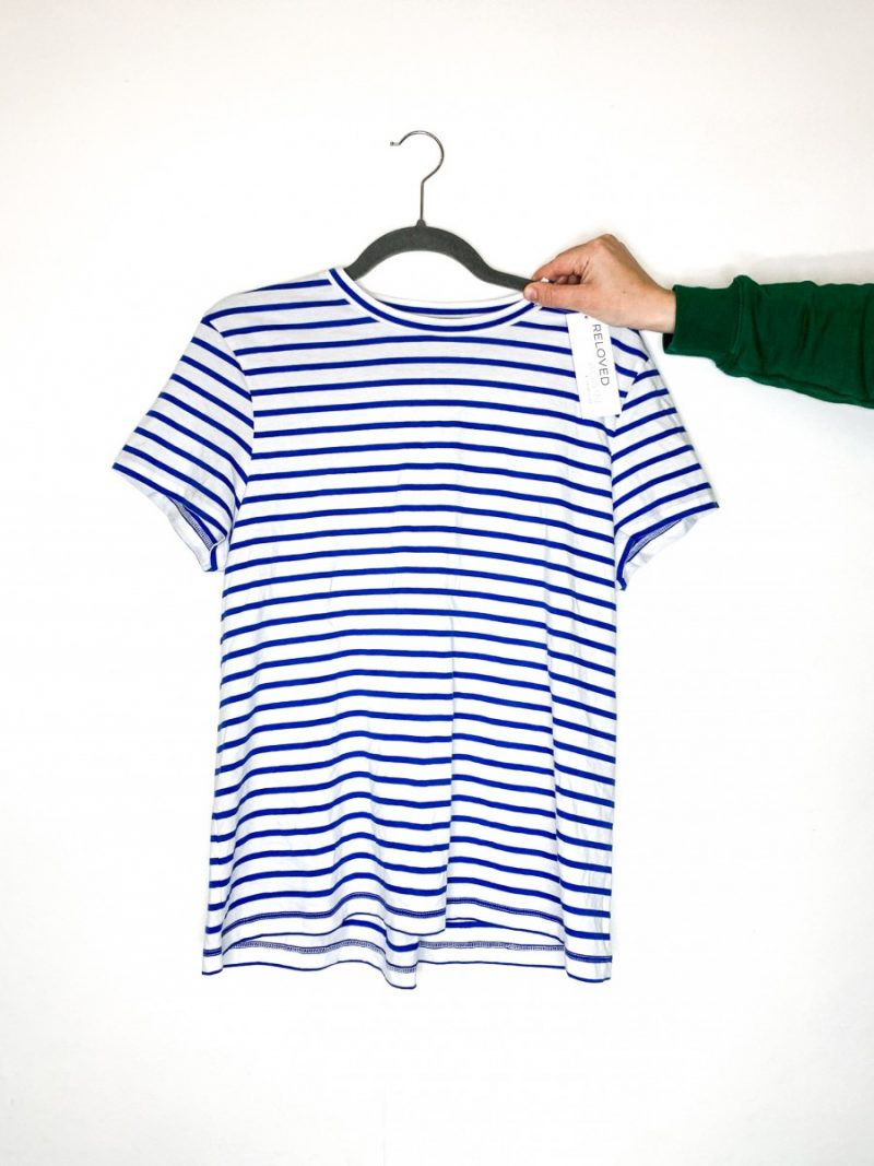 Finery blue and white striped t shirt