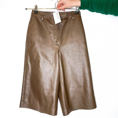 Blossom faux leather brown wide leg crop trousers