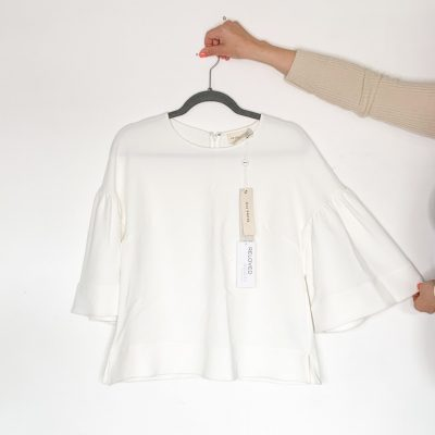 Regina Pyo cream short sleeved blouse with bell sleeves NEW