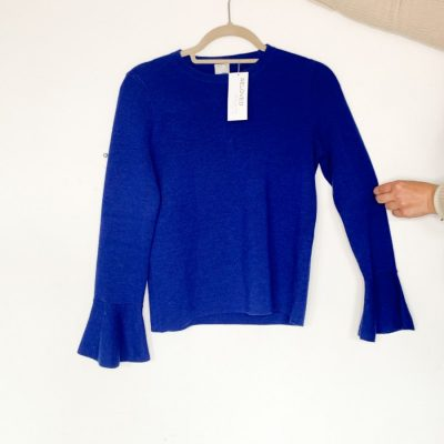 Iris & Ink blue wool jumper with flared sleeves