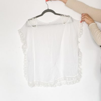 Masscob white linen blend oversized lace top size small