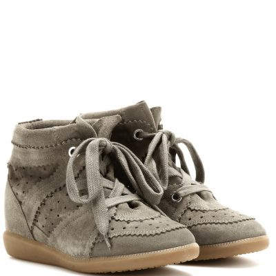 Isabel Marant Bobbi wedge sneakers in taupe suede