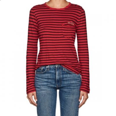 Zadig and Voltaire regy stripes long sleeved top size medium with 'muse' embroidery