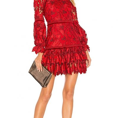 Alexis 'Fransisca' red lace floral dress