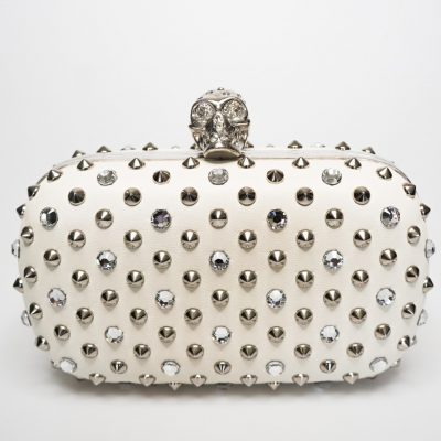 Alexander McQueen crystal skull and studs white leather clutch