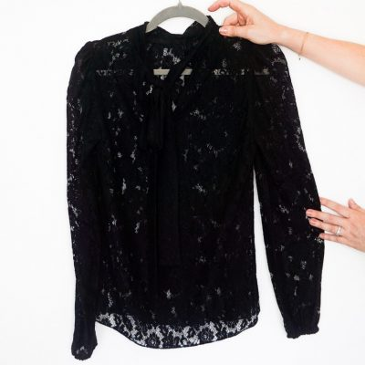 Dolce and Gabbana black lace blouse with pussy bow tie