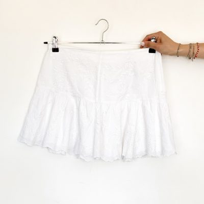 Zadig & Voltaire pure cotton white skirt with embroidery