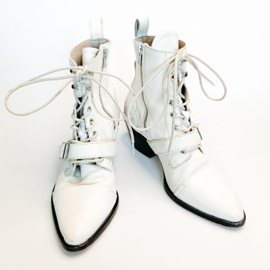 All Saints 'katy' boots in white leather