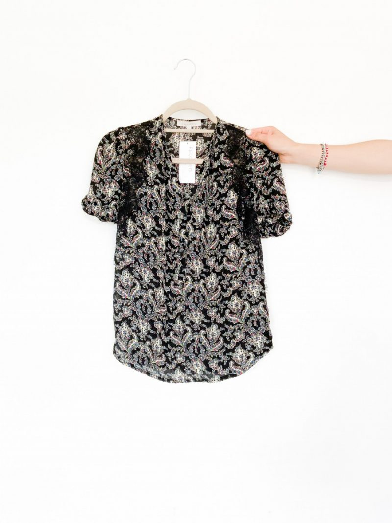 Sandro navy floral paisley print blouse with lace