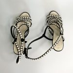 CHANEL black strappy heeled sandals embossed with pearls