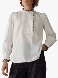 Toast white button up pure cotton blouse