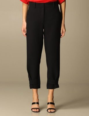 No.21 black evening trousers with crystal buttons