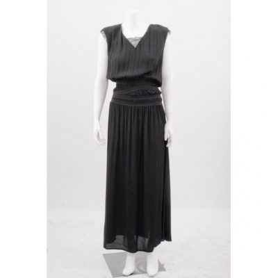Maje black maxi dress with lace detailing