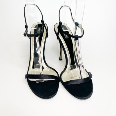 Dolce and Gabbana satin and crystal embellished strappy sandals