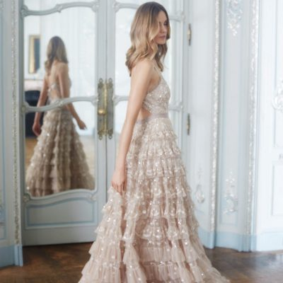 Needle and Thread tulle ruffled gown with sequins