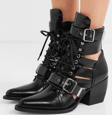 Chloe Rylee lace-up cutout glossed-leather ankle boots
