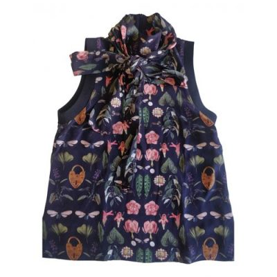 Mother of Pearl navy blouse with botanical print