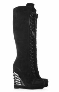 YSL suede knee high Robyn wedge boots