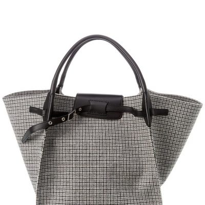Celine Tweed and Smooth Calfskin leather large tote