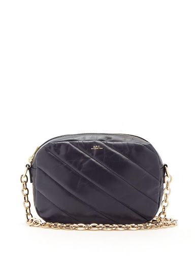 A.P.C Carole navy quilted crossbody bag